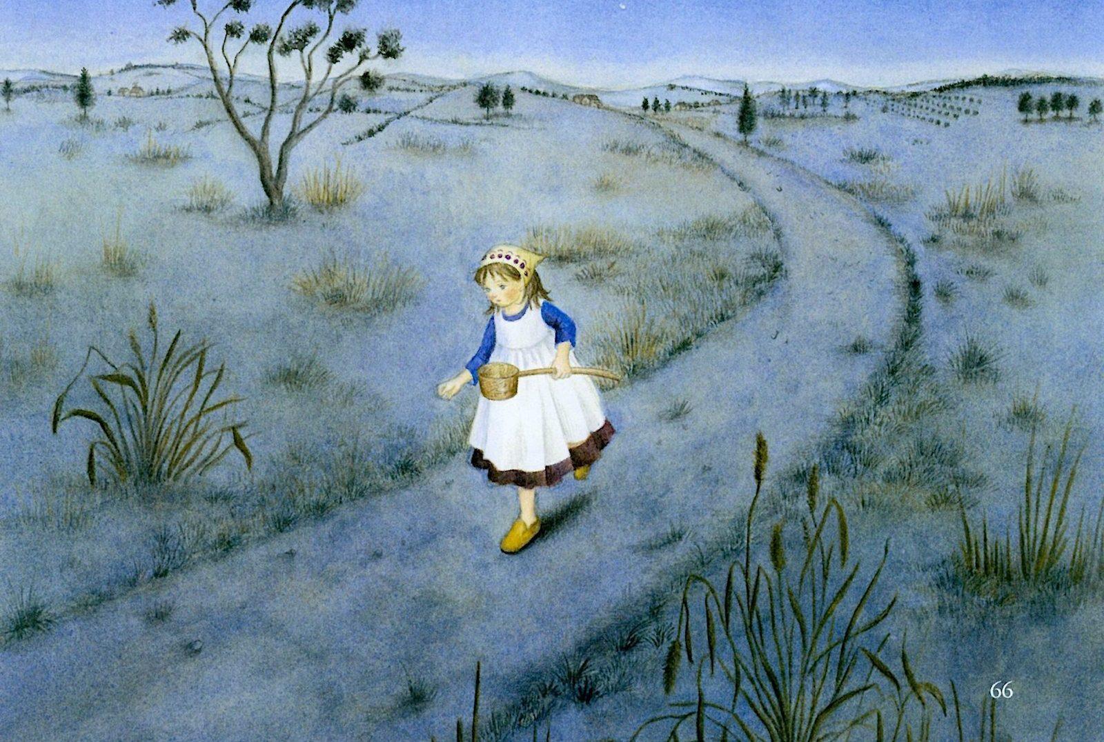 ひしゃくぼし-その年は雨が降らず、女の子は病気のお母さんのために水を汲みに行きました。