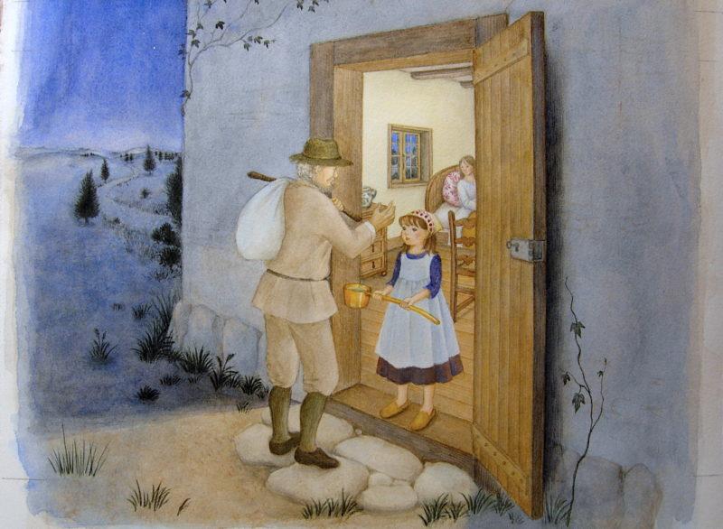 ひしゃくぼし-女の子が旅人に水を差し出すと、柄杓は金に変わりました。