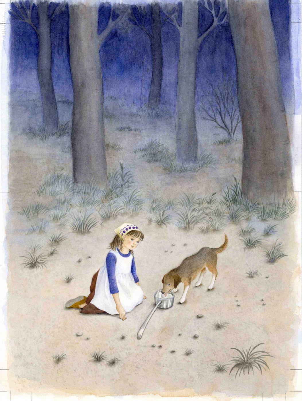 教科書イラスト ひしゃくぼし-女の子が犬に水を飲ませると、ひしゃくは銀に。